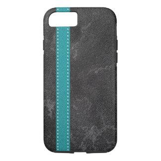 Capa iPhone 8/ 7 Correia de couro de turquesa do falso cinzento de