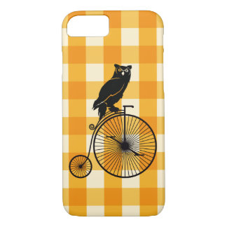 Capa iPhone 8/ 7 Coruja que monta uma bicicleta do Farthing da