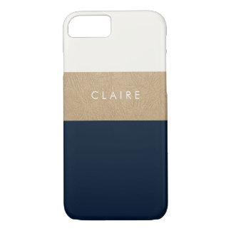 Capa iPhone 8/ 7 Couro e azuis marinhos do ouro