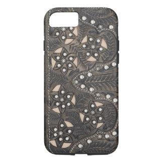 Capa iPhone 8/ 7 Couro utilizado ferramentas Studded do cristal de