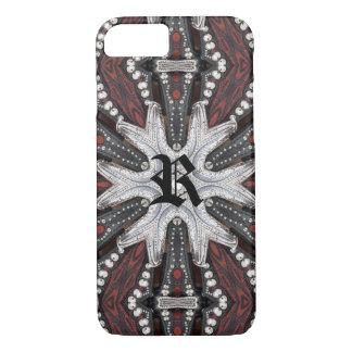 Capa iPhone 8/ 7 Couro utilizado ferramentas Studded ocidental do