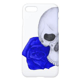 Capa iPhone 8/7 Crânio e rosas azuis