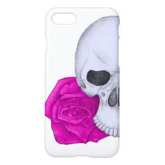 Capa iPhone 8/7 Crânio e rosas cor-de-rosa