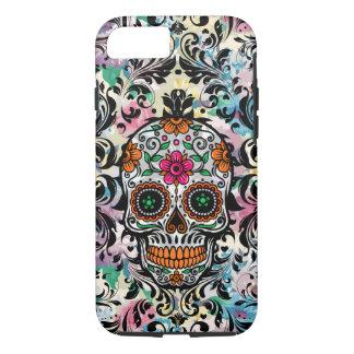 Capa iPhone 8/ 7 Crânio floral colorido do açúcar & redemoinhos