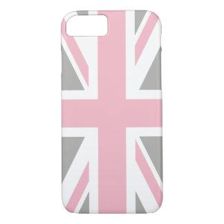 Capa iPhone 8/ 7 Criar sua própria luz - Union Jack cor-de-rosa