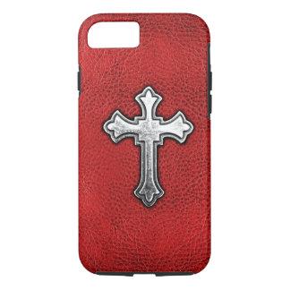 Capa iPhone 8/ 7 Cruz do metal no couro vermelho