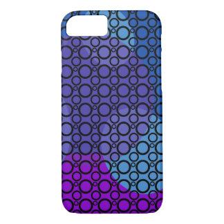 Capa iPhone 8/ 7 Curvas roxas, azuis e cor-de-rosa sob círculos