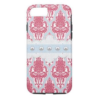 Capa iPhone 8/ 7 Damasco cor-de-rosa & azul do chique