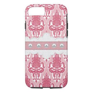 Capa iPhone 8/ 7 Damasco cor-de-rosa & cor-de-rosa do chique