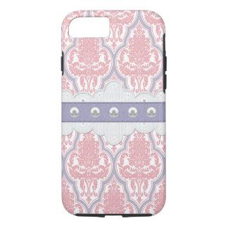 Capa iPhone 8/ 7 Damasco cor-de-rosa & roxo do chique