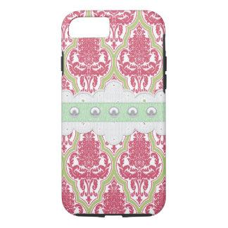 Capa iPhone 8/ 7 Damasco cor-de-rosa & verde do chique