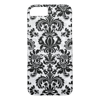 Capa iPhone 8/ 7 Damasco floral do vintage preto e branco
