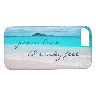 """Capa iPhone 8/ 7 De """"Os pés Sandy"""" citam a foto azul do oceano & do"""