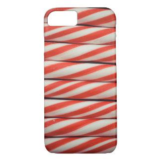 Capa iPhone 8/ 7 Decoração vermelha listrada do White Christmas do