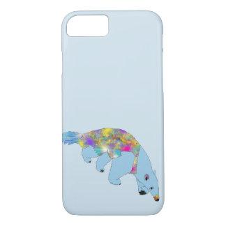 Capa iPhone 8/ 7 Design animal da arte do Anteater psicadélico azul