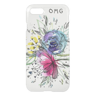 Capa iPhone 8/7 Design do monograma das flores de Pink&Blue da
