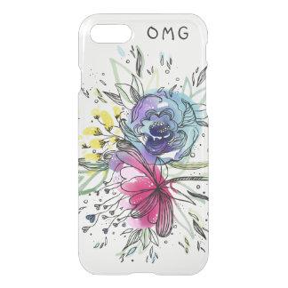 Capa iPhone 8/7 Design do monograma das flores de Pink&Blue da