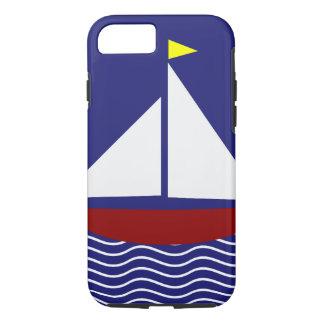 Capa iPhone 8/ 7 Design do veleiro dos azuis marinhos e do vermelho