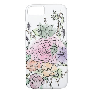 Capa iPhone 8/ 7 design floral do estilo da aguarela