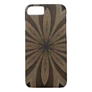 Capa iPhone 8/ 7 Design rústico do caleidoscópio da flor de Brown