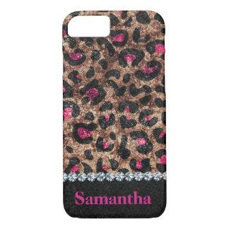 Capa iPhone 8/ 7 Diamante animal do rosa chique do leopardo