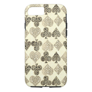 Capa iPhone 8/ 7 Diamante bege Antiqued envelhecido do coração do