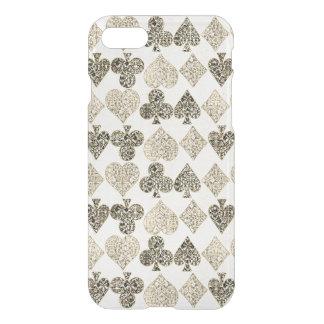 Capa iPhone 8/7 Diamante bege Antiqued envelhecido do coração do