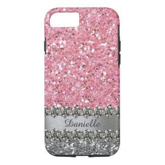 Capa iPhone 8/ 7 Diamante cor-de-rosa Bling do brilho do falso