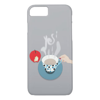 Capa iPhone 8/ 7 Diga sim ao cobrir do café e do telefone de Grâ