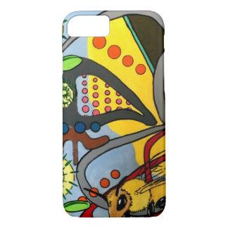 """Capa iPhone 8/ 7 Do """"da abelha abstrata do jardim da modificação"""