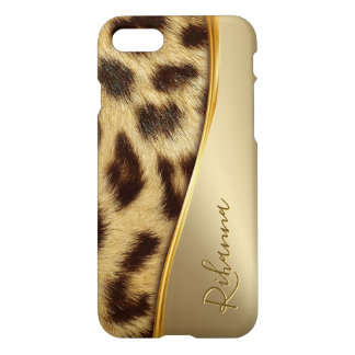 Capa iPhone 8/7 Do monograma elegante do leopardo do falso das