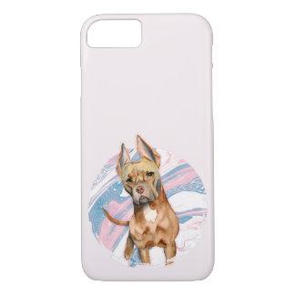 """Capa iPhone 8/ 7 Do """"pintura da aguarela do cão do pitbull das"""