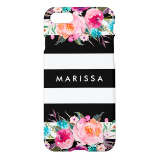 Capa iPhone 8/7 Do rosa preto legal da listra do na moda aguarela