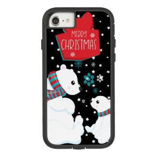 Capa iPhone 8/ 7 Dois Felizes Natais dos ursos polares