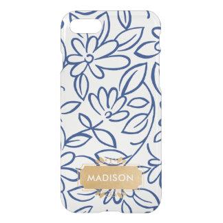 Capa iPhone 8/7 Doodle floral branco do marinho com a placa