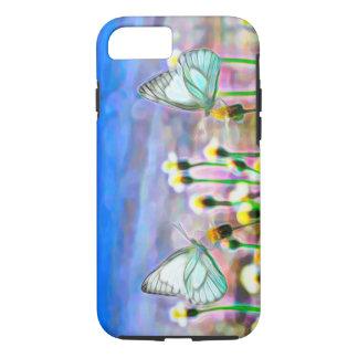 Capa iPhone 8/ 7 Duas borboletas brancas em um prado amarelo da