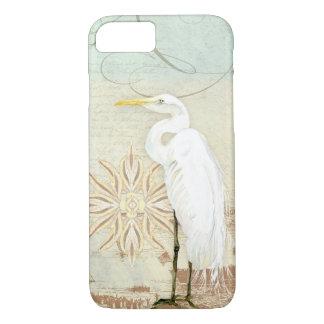 Capa iPhone 8/ 7 Egret náutico da arte dos pássaros da praia costa
