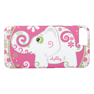Capa iPhone 8/ 7 Elefante cor-de-rosa verde extravagante floral