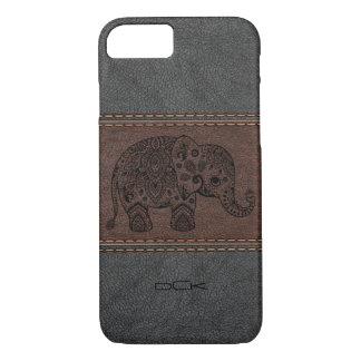 Capa iPhone 8/ 7 Elefante preto de Paisley sobre o couro do vintage