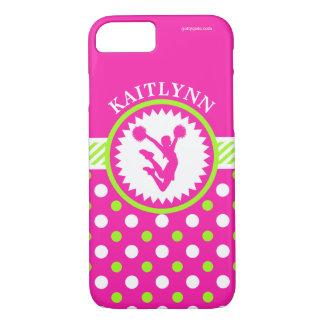 Capa iPhone 8/ 7 Elogio Monogrammed/bolinhas cor-de-rosa e verdes