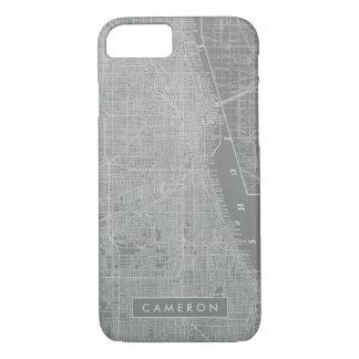 Capa iPhone 8/ 7 Esboço do mapa da cidade de Chicago