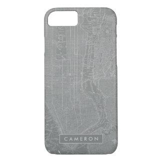 Capa iPhone 8/ 7 Esboço do mapa da Nova Iorque