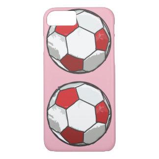 Capa iPhone 8/ 7 Esboço vermelho da bola de futebol