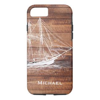 Capa iPhone 8/ 7 Escuna branca náutica do navio & pranchas de