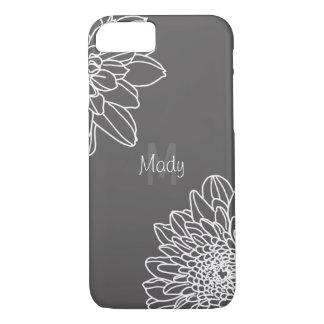 Capa iPhone 8/ 7 Escuro - cinzas com as grandes flores brancas e o