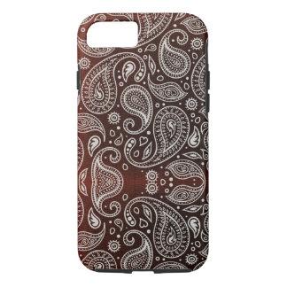 Capa iPhone 8/ 7 Escuro - Paisley vermelho