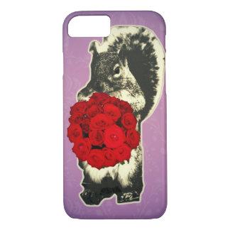 Capa iPhone 8/ 7 Esquilo engraçado do rosa do dia dos namorados