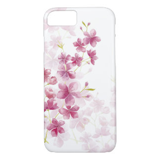 Capa iPhone 8/ 7 Estilo floral da aguarela da flor de cerejeira do