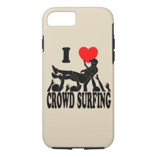 Capa iPhone 8/ 7 Eu amo a multidão que surfa (homem) (o preto)