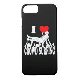 Capa iPhone 8/ 7 Eu amo a multidão que surfa (o homem) (branco)